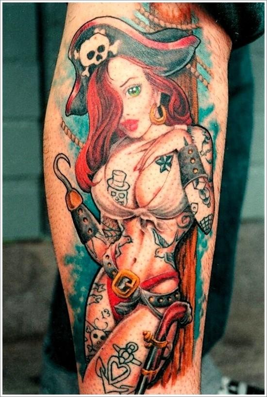 Cartoon like painted seductive pirate woman tattoo on arm