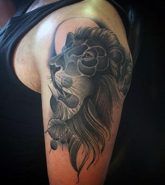 Cartoon style black and white shoulder tattoo of lion head for Black and white lion tattoo