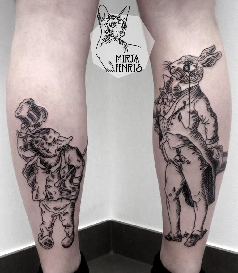 Cartoon style black ink leg tattoo of various human like animals