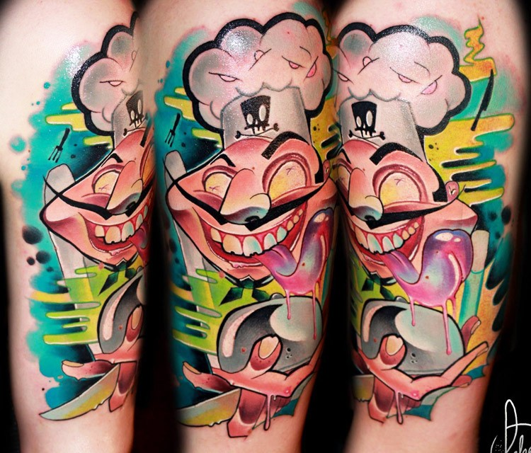 Cartoon style colored arm tattoo of crazy cook