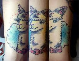 Cartoon style colored arm tattoo of emu