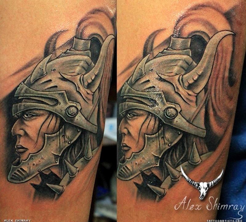 Cartoon style colored arm tattoo of fantasy warrior