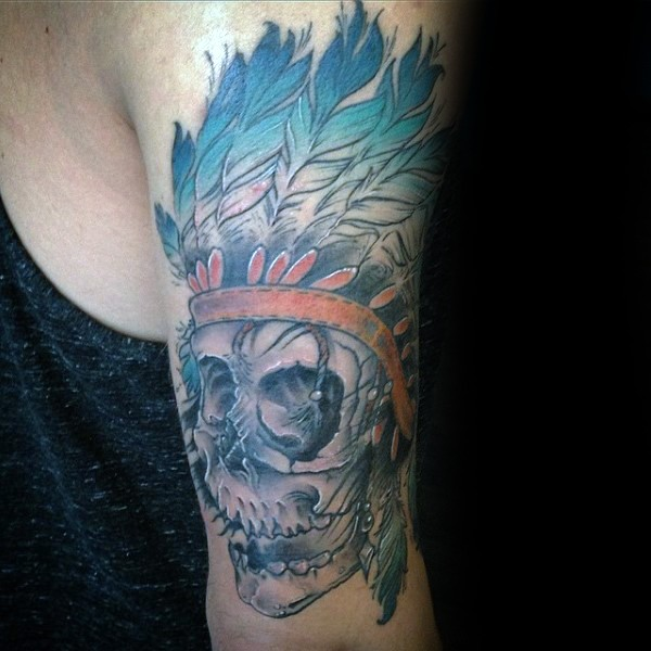 Cartoon style colored arm tattoo of Indian skeleton with helmet
