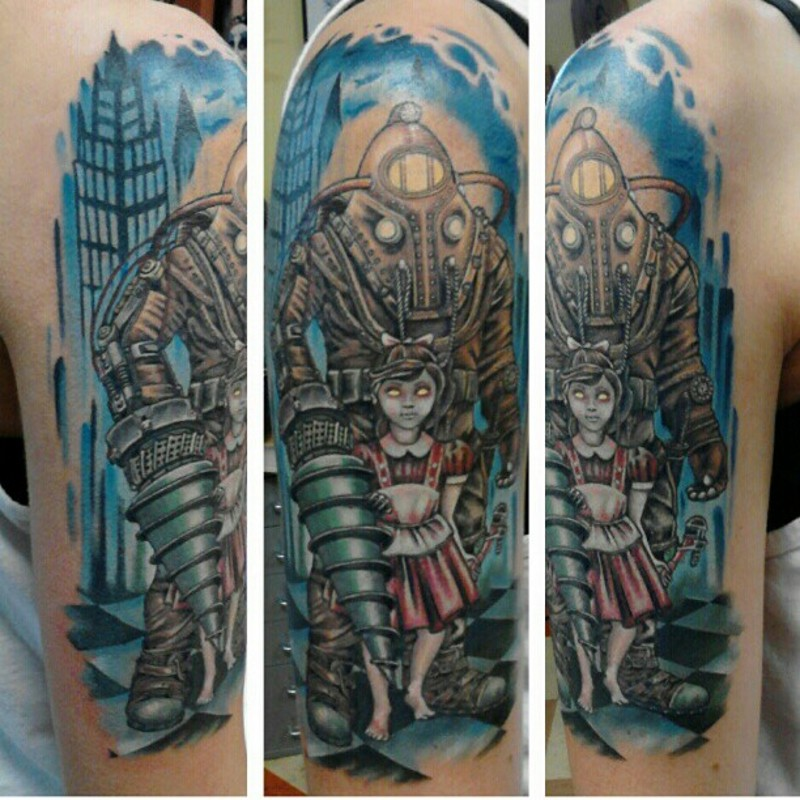 Cartoon style colored big shoulder tattoo of little girl with cool robot