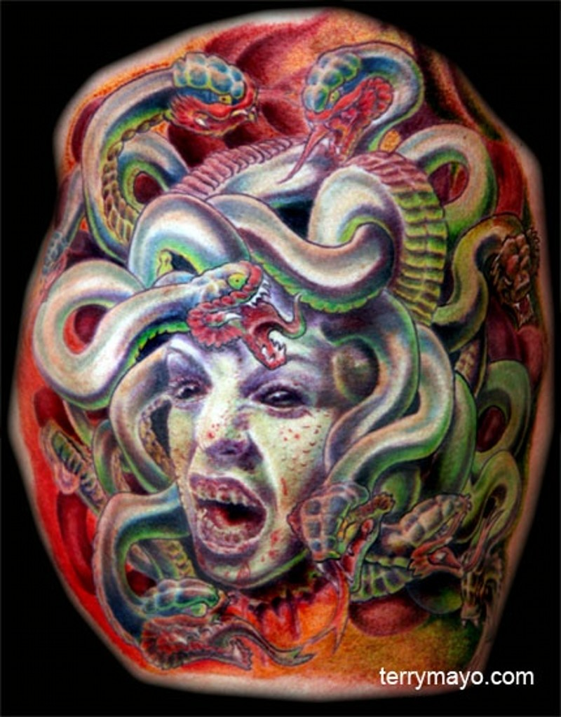 Cartoon style colored bloody Medusa head tattoo with snakes