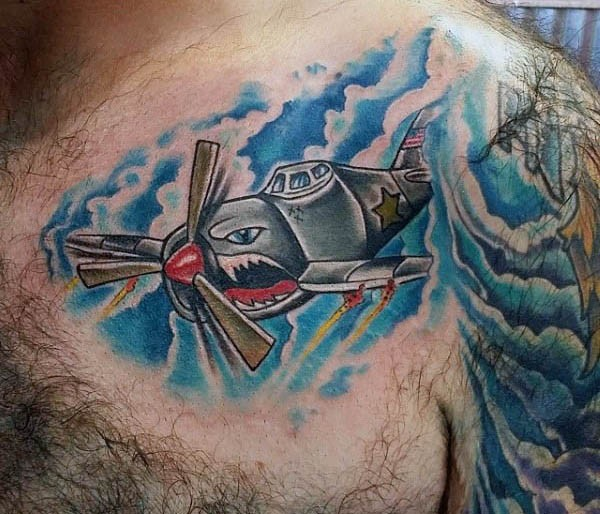 Cartoon style colored chest tattoo of fighter plane