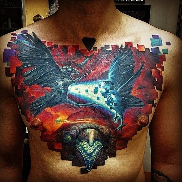 Cartoon style colored chest tattoo of fighting fantasy birds with snake