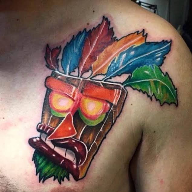 Cartoon style colored chest tattoo of Crash mask ...