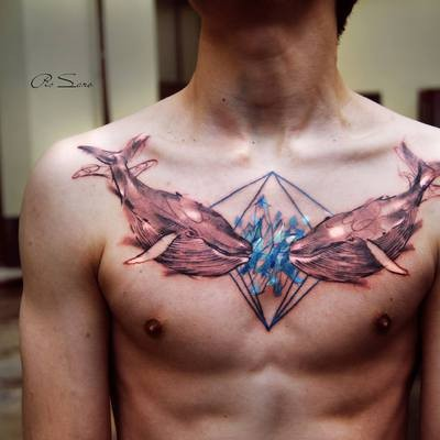 Cartoon style colored chest tattoo of cute whales with big diamond