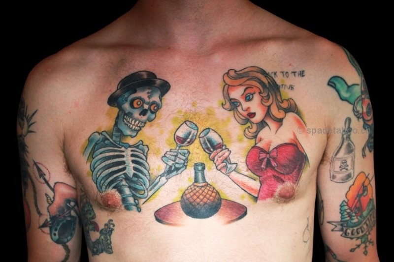 Cartoon style colored chest tattoo of woman with skeleton couple