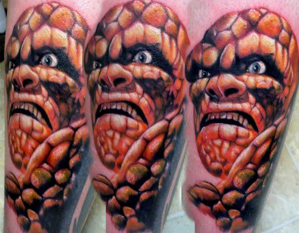 Cartoon style colored cool tattoo of Fantastic Four Stone man