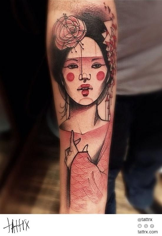 Cartoon style colored forearm tattoo of japanese woman