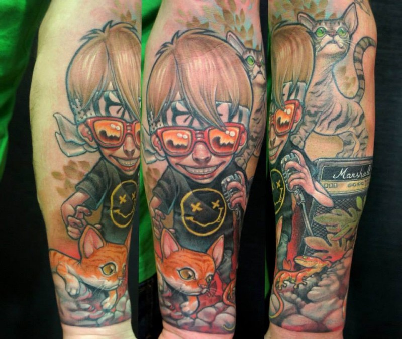 Cartoon style colored forearm tattoo of funny boy with cat and lizard