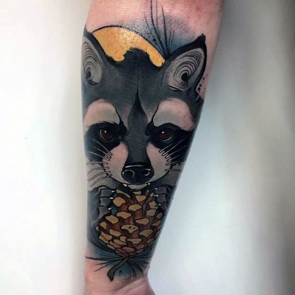 Cartoon style colored forearm tattoo of raccoon with cone