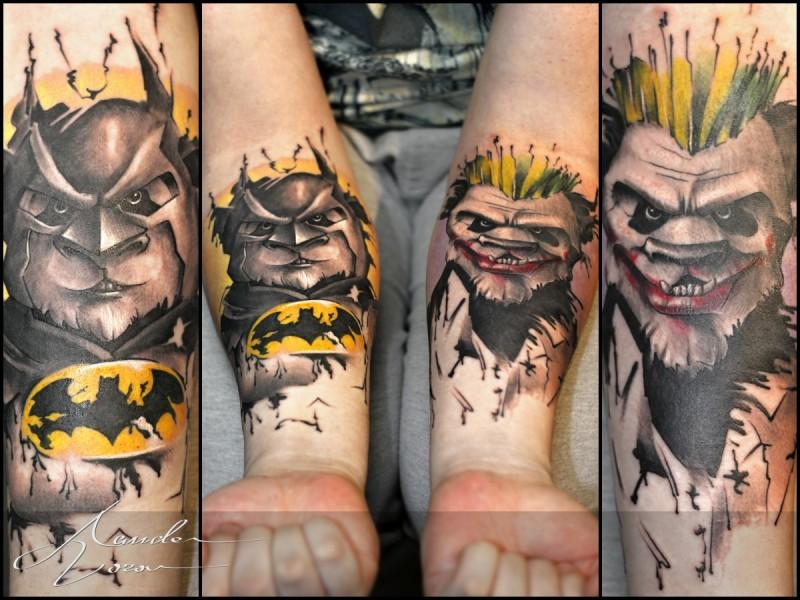 Cartoon style colored forearm tattoo of panda Batman and panda Joker