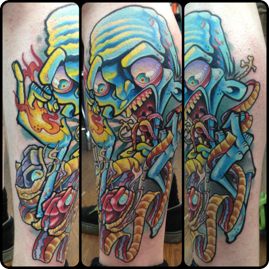 Cartoon style colored leg tattoo of creepy zombie with snake