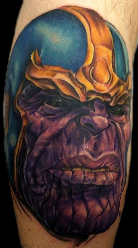 Cartoon style colored leg tattoo of Marvel universe villain