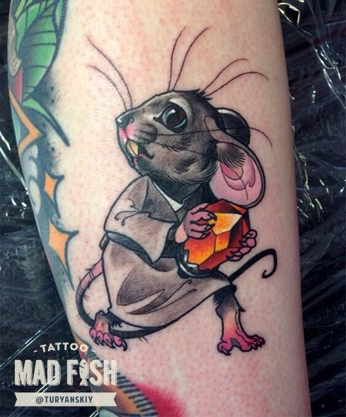 Cartoon style colored leg tattoo of mouse with diamond