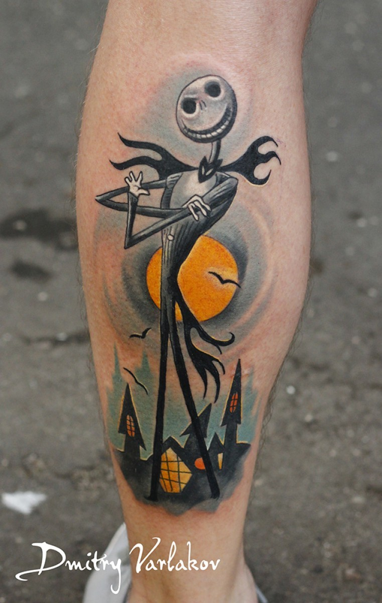 Cartoon style colored leg tattoo of The Nightmare before Christmas hero