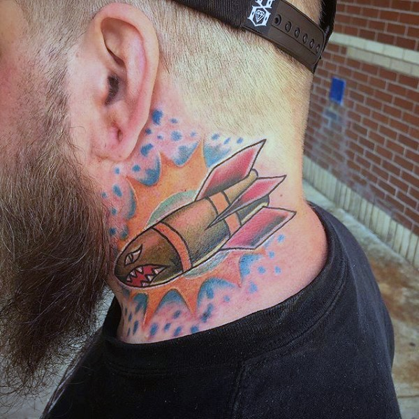 Cartoon style colored neck tattoo of cartoon bomb