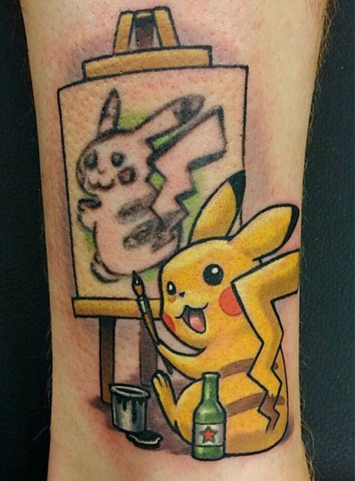 Cartoon style colored Pokemon tattoo on leg
