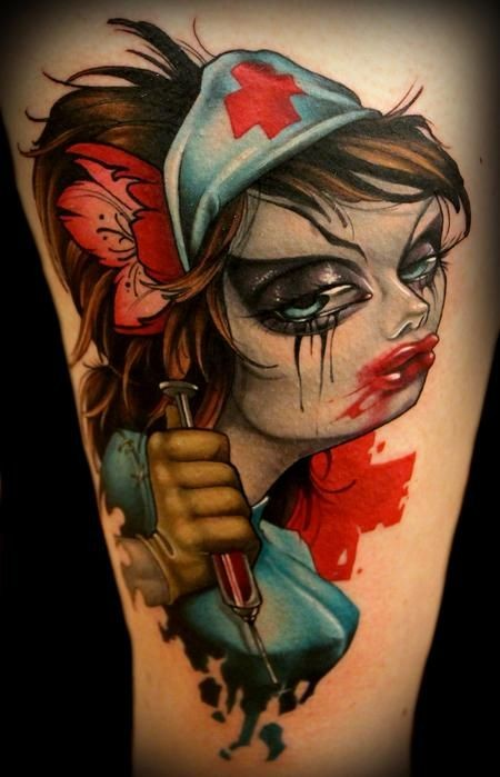 Cartoon style colored sexy zombie maniac nurse tattoo on thigh