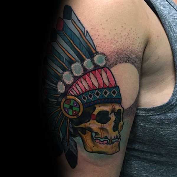 Cartoon style colored shoulder tattoo of Indian skull with helmet