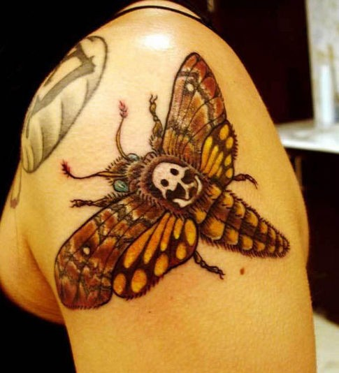 Cartoon style colored shoulder tattoo of big butterfly with human skull
