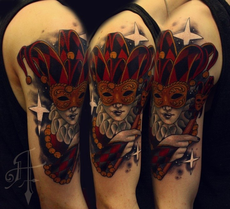 Cartoon style colored shoulder tattoo of woman with mask