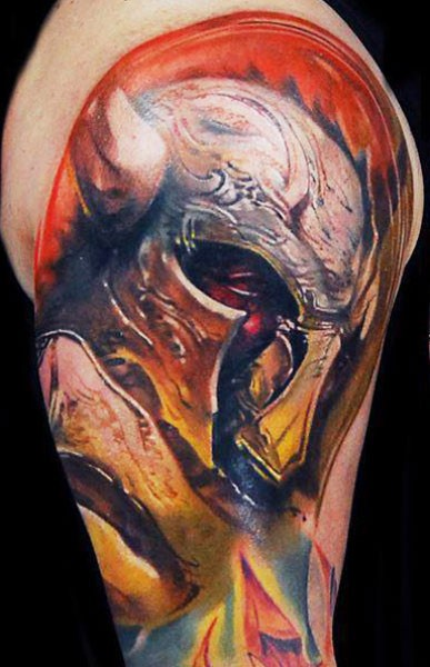 Cartoon style colored shoulder tattoo of fantasy warrior