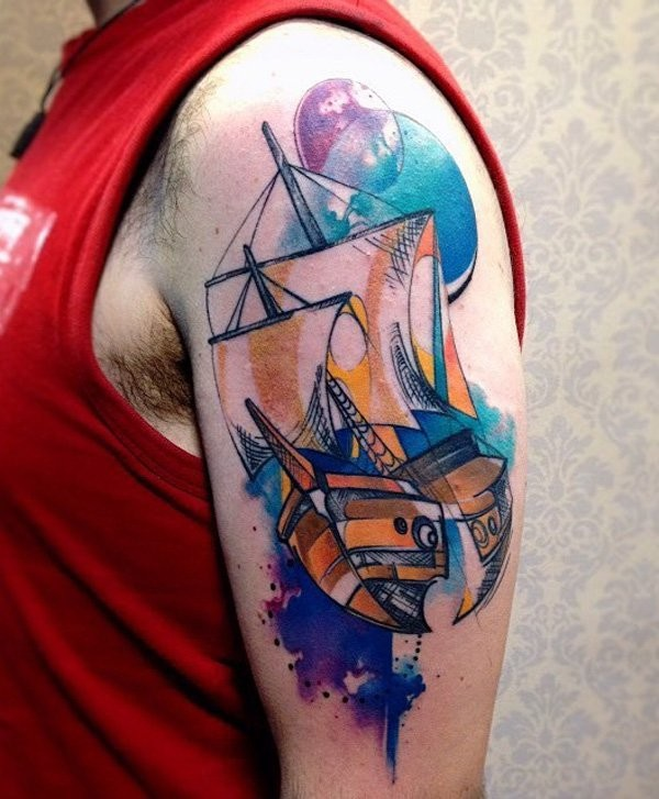 Cartoon style colored shoulder tattoo of cute sailing ship