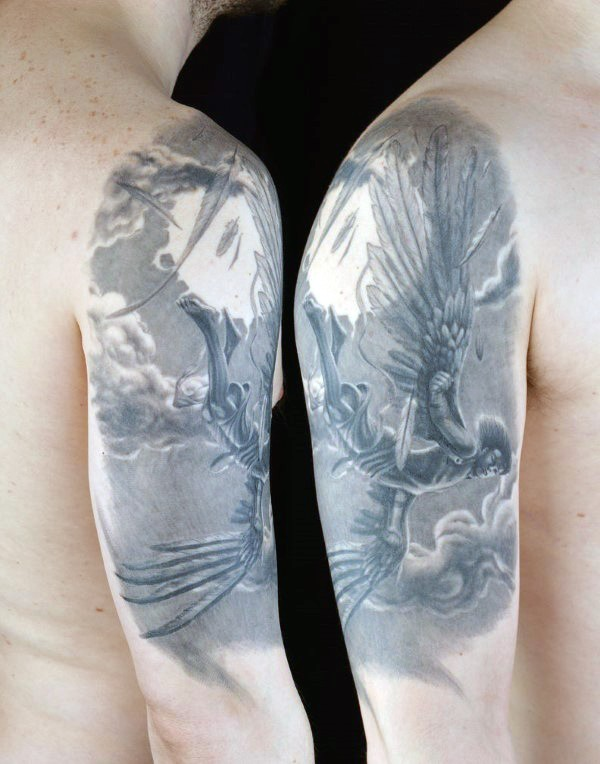 Cartoon style colored shoulder tattoo of falling Icarus and moon