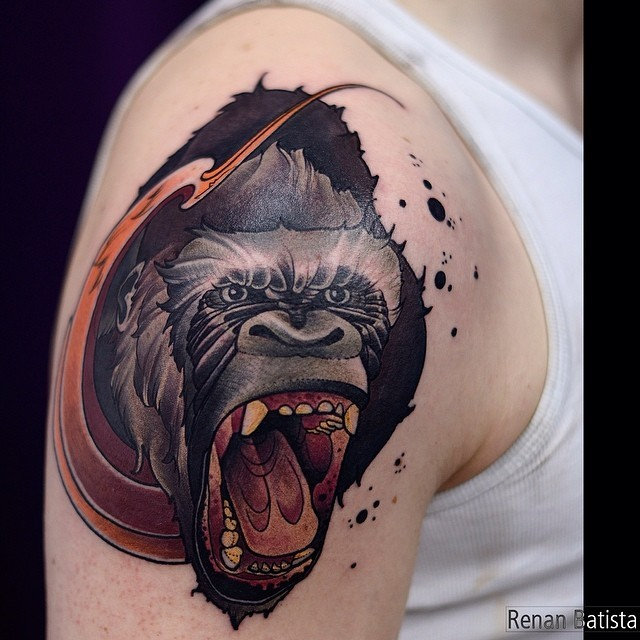 Cartoon style colored shoulder tattoo of crazy monkey - Tattooimages.biz