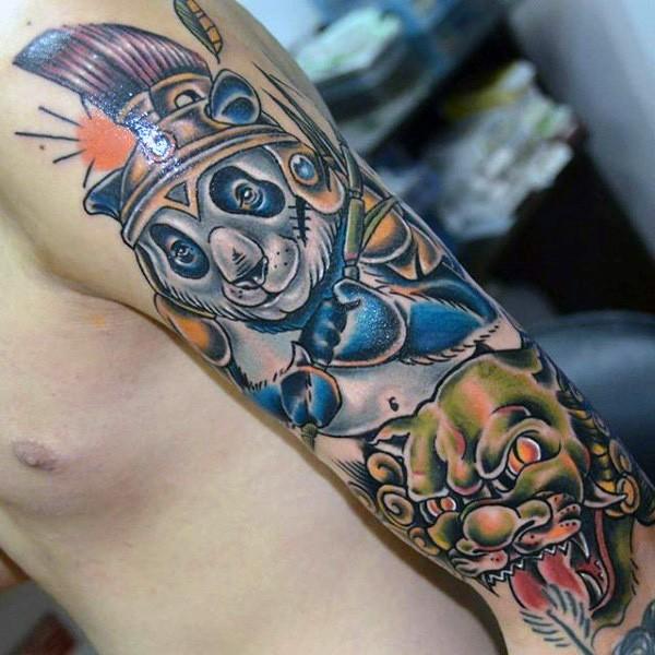 Cartoon style colored sleeve tattoo of japanese panda bear with demonic mask