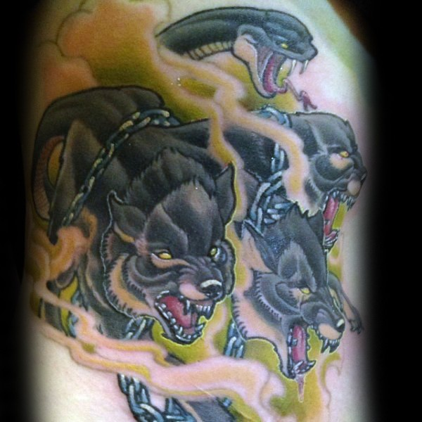 Cartoon style colored tattoo of cool Cerberus