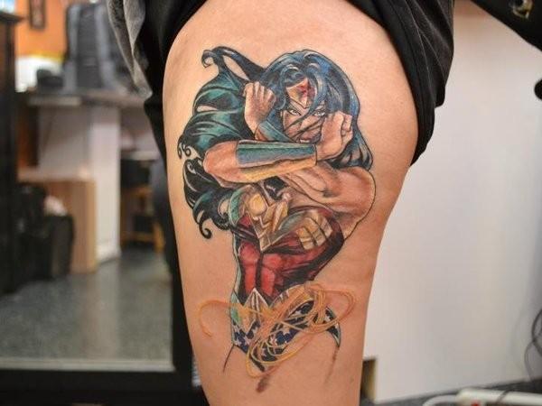 Cartoon style colored tattoo of fantasy woman warrior