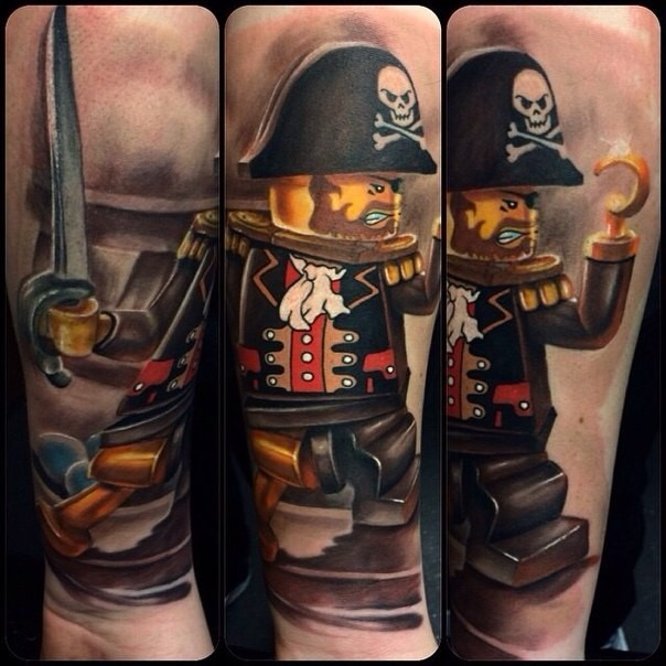 Cartoon style colored tattoo of Lego pirate with books