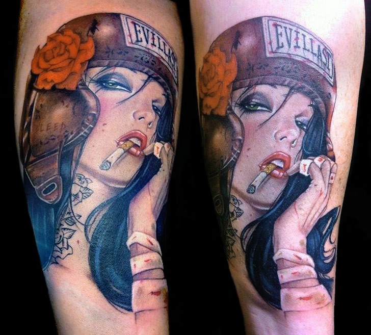 Cartoon style colored tattoo of sexy smoking woman with helmet