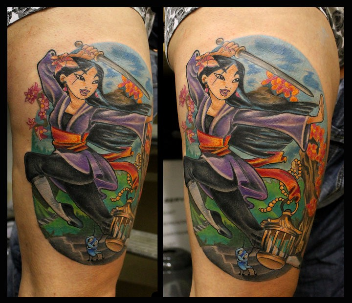 Cartoon style colored thigh tattoo of Asian woman with sword and flowers