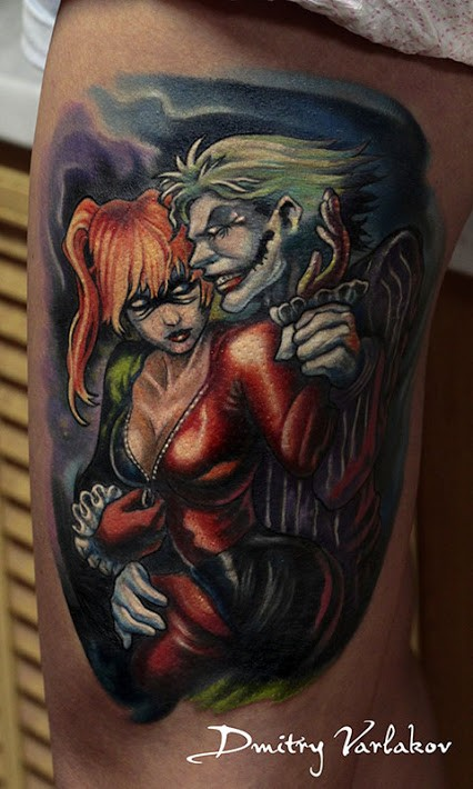Cartoon style colored thigh tattoo of Joker with sexy woman