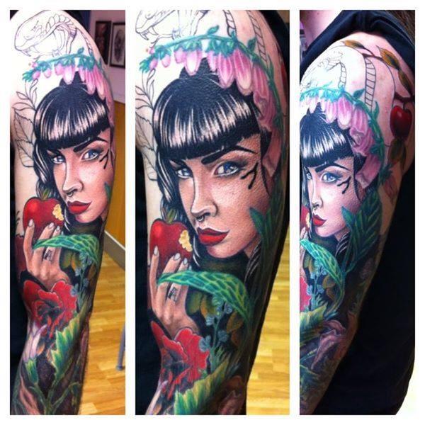 Cartoon style colorful mystical seductive woman with apple tattoo on sleeve