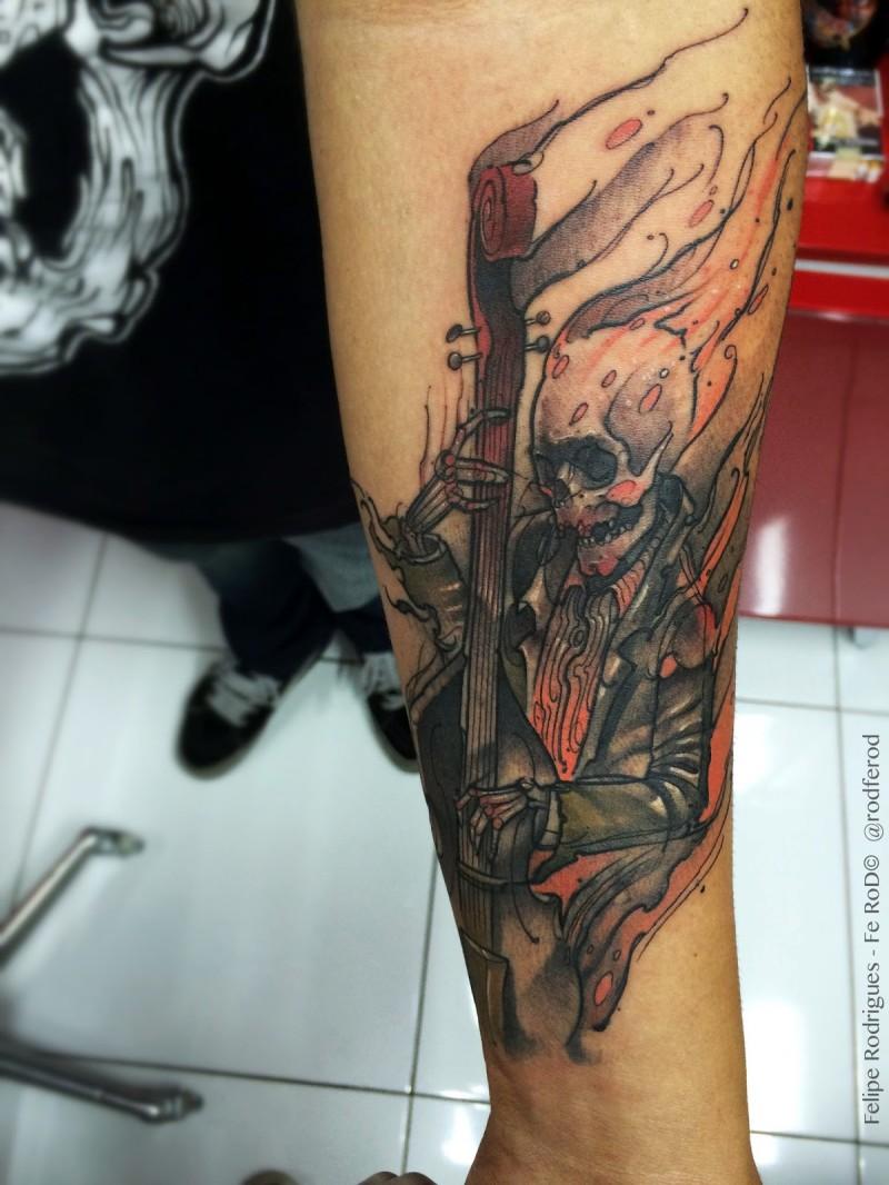Cartoon style forearm tattoo of burning skeleton musician