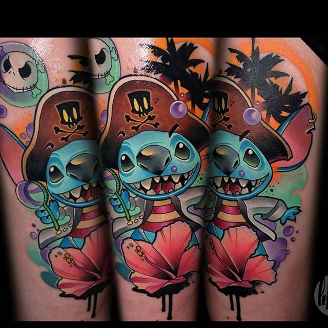 Cartoon style funny looking tattoo of pirate monster