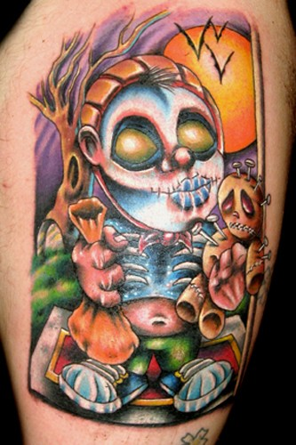 Cartoon style painted and colored creepy monster with money bag and voodoo doll tattoo on thigh