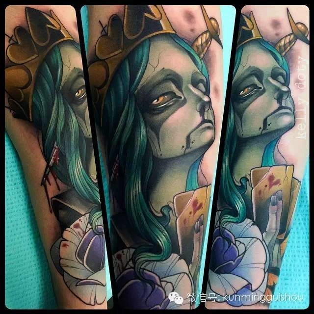 Cartoon style painted and colored evil witch queen tattoo on sleeve stylized with violet rose