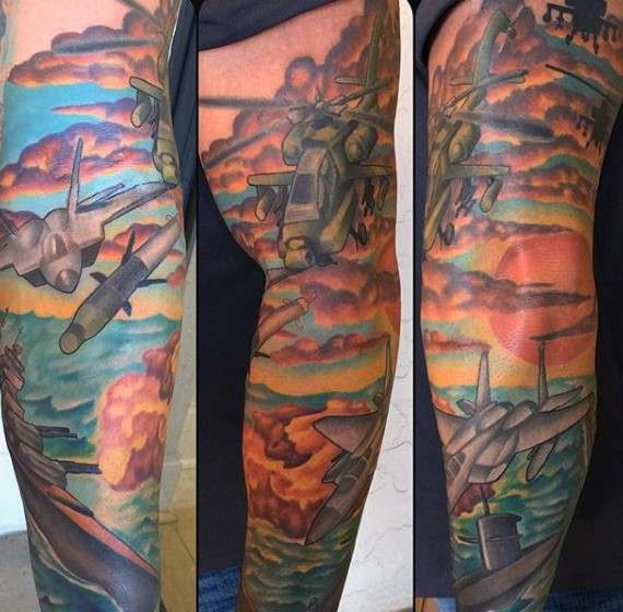 Cartoon style painted colorful military tattoo on sleeve