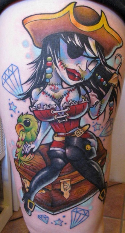 Cartoon style painted sexy zombie pirate girl with carrot and diamonds tattoo on thigh