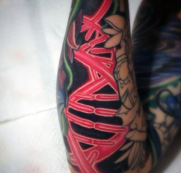 Cartoon style red colored forearm tattoo of DNA symbol