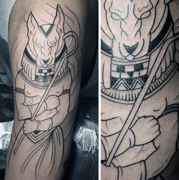 Cartoon style uncolored shoulder tattoo of Egypt God Anubis