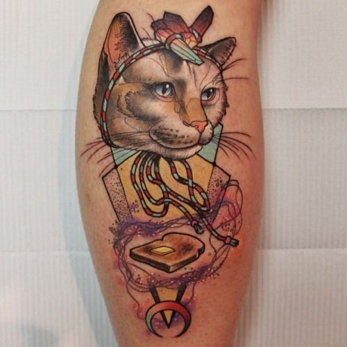Cat and bread toaster tattoo by Cody Eich